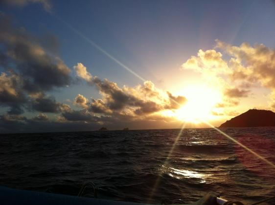 Soluppgång norr om Mustique
