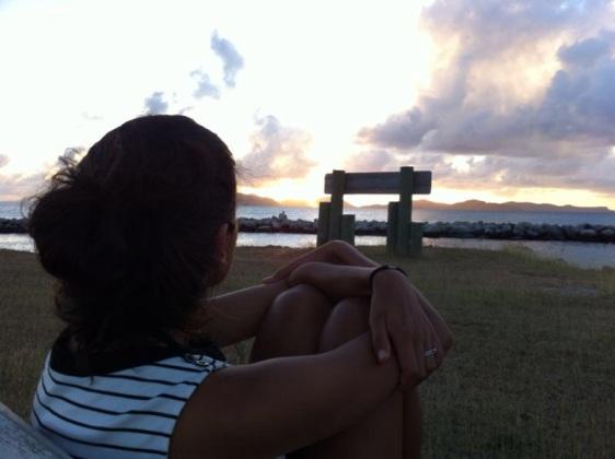 Vacker solnedgång från Virgin Gorda marina