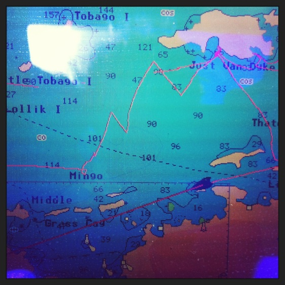 Vår segling i BVI, man kan se vart vi får problem, seglar upp till Jost van dyke, draggar, seglar till West end Tortola samt tidigare dagars segling...