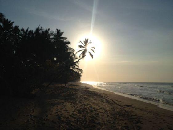 Playa Coson i solnedgången